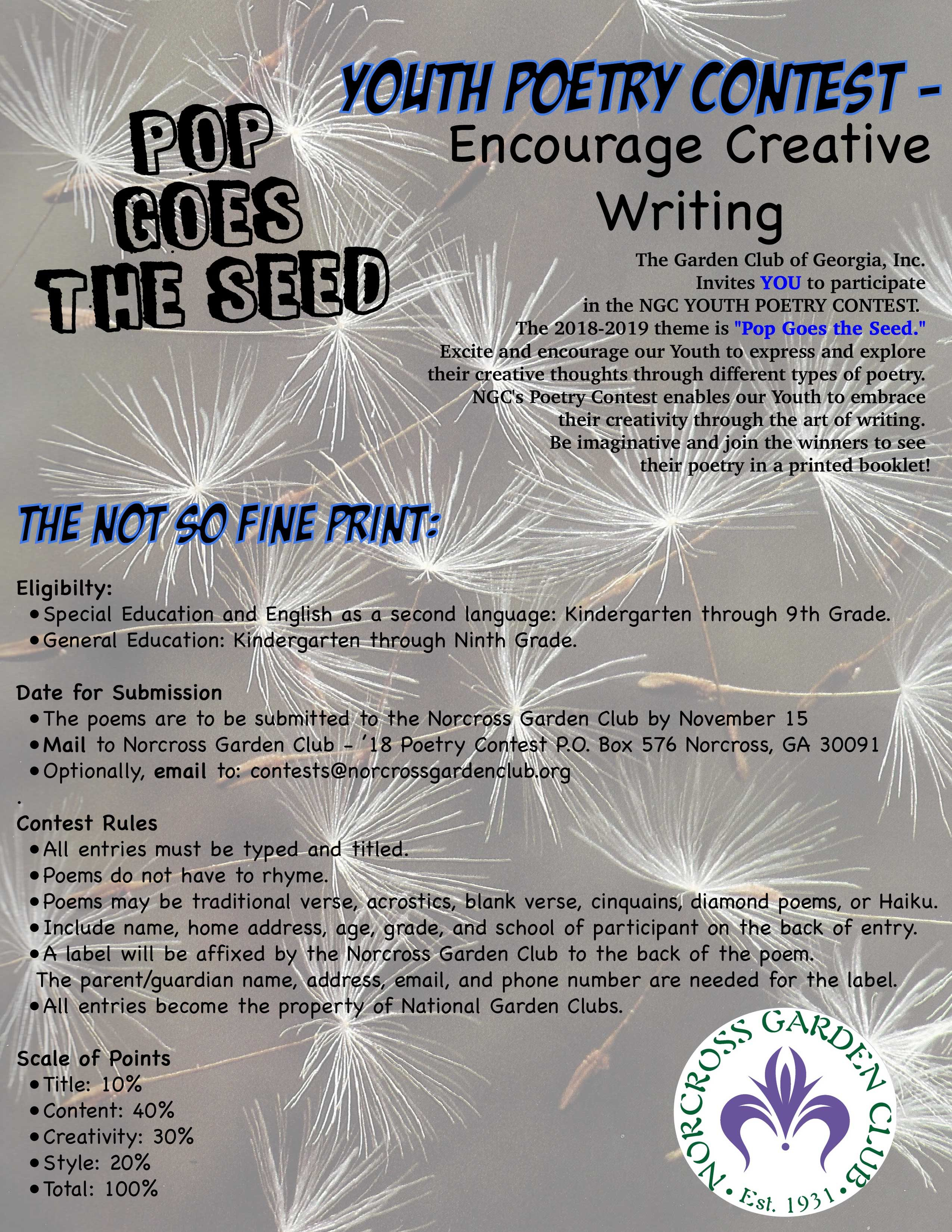 Youth Poetry Contest ~ Pop Goes the Seed – The Norcross