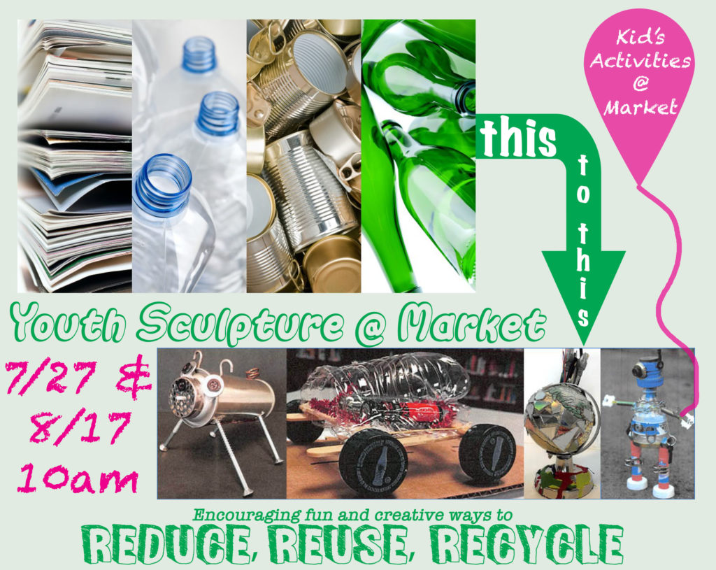 Kid's Sculpture building - recycling materials at Norcross Community Market @ Lillian Webb Park